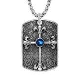 Acier de titane de bijou de mode de couleur du pendant 3 de collier de croix d'étiquette de crabot