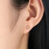 새 모델 로즈 금 도금 순은 원형 귀걸이