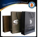 Sac à lanières personnalisé Sac à provisions en papier noir