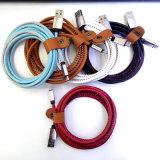 Cable trenzado de nylon del cargador del USB del micr3ofono del USB de las ventas al por mayor del micr3ofono del cable de cuero micro del USB