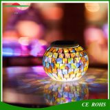 Outdoor Waterproof Solar Powered Color Changing Night Light Mosaico de vidro Ball LED Lights Lâmpadas de mesa para casa e Festival Gift