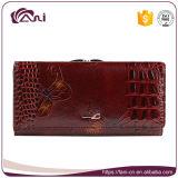 Het Bruine Wallet van de Kleur Echte Leer van uitstekende kwaliteit van Dame Use Butterfly Printed