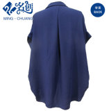 青く短い袖の折りえりの方法100%年のレーヨン毎日の女性ブラウス