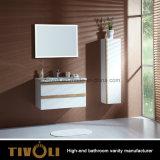 Wand hing MDF-weißen Lack-Badezimmer-Schrank (V002)