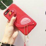 Caixas de couro do telefone móvel do plutônio de Lichee do flamingo feito sob encomenda luxuoso novo