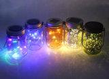 Tarro de masón de cristal colgante accionado solar del jardín del parpadeo LED de la luz caliente del arroz