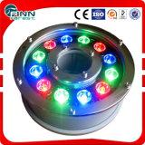 Fenlin IP68 Edelstahl-ausgeglichenes Glas RGB-Brunnen-Licht