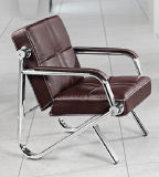 Sofa en cuir moderne de bureau de banc avec le bâti inoxidable B27# en stock 1+1+3