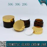 20ml 30ml 50ml bernsteinfarbige kosmetische Behälter-Maurer-Glasgläser mit Goldschutzkappe