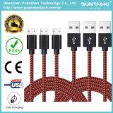 câble tressé en nylon de chargeur de cordon du tissu USB de tissu neuf de 1m pour Samsung