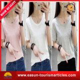 明白の速く乾燥した短い袖のTシャツの女性