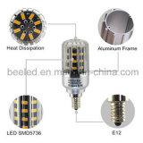La luz E12 5W del maíz del LED calienta la lámpara de plata blanca del bulbo de la carrocería LED del color