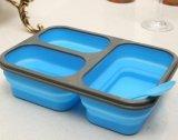Коробка обеда силикона качества еды решетки 3 складная