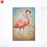 Décor rouge d'art de mur d'autruche de peinture à l'huile de toile de coton
