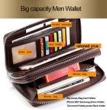 Borsa del raccoglitore del sacchetto degli uomini grande del nero della chiusura lampo pratica di cuoio della parte superiore