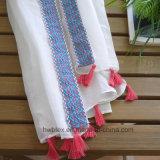 Haut de la qualité coton Couleur unie Lady foulard avec dentelle (HWBC31)