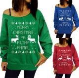 크리스마스 인쇄 떨어져 어깨 잠바 스웨터 (80007)