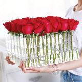 36 pedazos de Rose del lucite del plexiglás del rectángulo de acrílico cuadrado de la flor con la tapa