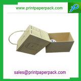 Rectángulo de joyería rígido de dos piezas de encargo del rectángulo de papel del regalo de la caja de cartón con la maneta de la cadena
