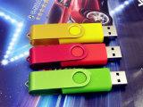 Movimentação colorida do flash da vara da memória do USB 2.0 do grampo do metal feito sob encomenda do giro