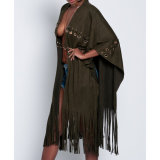 Moda Mujer Ocio borlas de vendaje vestido Casual Cabo