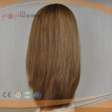 Lleno de pelo humano mujer Wefted rubia peluca (PPG-L-01719)