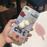 contraportada del silicón 3D del empuje del teléfono blando suave lindo del gato