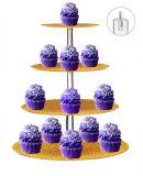 4 Tier Unique Présentoir acrylique Golden gâteau de fête de mariage