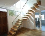 목제 보행 보이지 않는 세로 침목 층계를 가진 현대 뜨 계단
