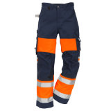 Pantalon r3fléchissant de sûreté de visibilité d'homme de pantalons élevés de travail