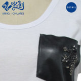 Col rond blanc de la mode Pocket lâche de coton T-Shirt Femmes Filles