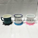 Enamelware tasse de thé ensemble avec Coaster cadeau promotionnel tasse de café avec tapis de coupe