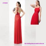 Populäre Schulter-asymetrisches Chiffon- langes Abschlussball-Kleid des Entwurfs-einer