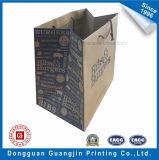 Saco de compras de papel marrom Kraft personalizado para embalagem de vestuário