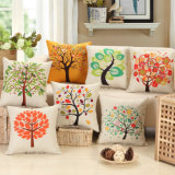 쇼핑 센터 Gift Linen Cotton Square 45cm Tree Plant Print Cushions Sofa Seat Back Cushion Cover Car Office Throw Pillow Case
