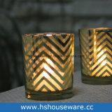 De gouden Houder van de Kaars van het Glas van de Cilinder Votive