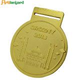 リボンおよび金カラーの方法金属メダル