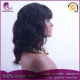 Avec Big Bangs ondulées vierge malaisien dentelle avant perruque de cheveux