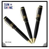 Stylo bille exécutif en métal d'affaires de crayon lecteur noir de cadeau