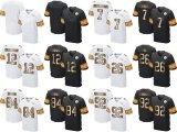 Abitudine nera bianca in bianco del pullover di football americano dell'oro dell'elite di Pittsburgh Roethlisberger Bradshaw Brown Harrison dei bambini dei capretti delle donne del Mens qualsiasi nome qualsiasi numeri