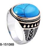Nuovo anello degli uomini dell'azzurro di turchese dell'argento sterlina di disegni 925