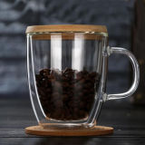 Caneca de café de vidro do copo de vidro da parede do dobro da caneca do suco de 12 onças