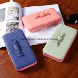 Кошелек лук Wallet женской карты мобильного телефона карман провод фиолетового цвета кожи женщин деньги пакет муфты женщин Wallet