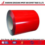 La couleur rouge PPGI en acier galvanisé recouvert de feuilles de matériau de construction