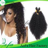Peruca humana do cabelo de Remy do Virgin brasileiro Curly Kinky preto natural