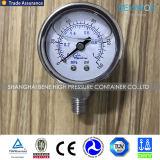 プラスチックケースのないが付いている鋼鉄アルミニウムガスの圧力計