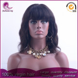 Avec Bangs Big Wave cheveux vierges indiennes Full Lace Wig