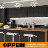 Gabinete de cozinha de madeira da laca Matte preta à moda moderna por atacado (OP16-L14)