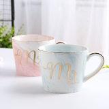 Pintura mármol creativo letras doradas taza de café de cerámica personalizadas tazas