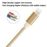 Câble usb tressé en nylon de la foudre 8pin de couleur d'or pour l'iPhone